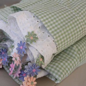 Pink green white flower Curtains
